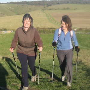 Hilary Warrell Nordic Walking with friends