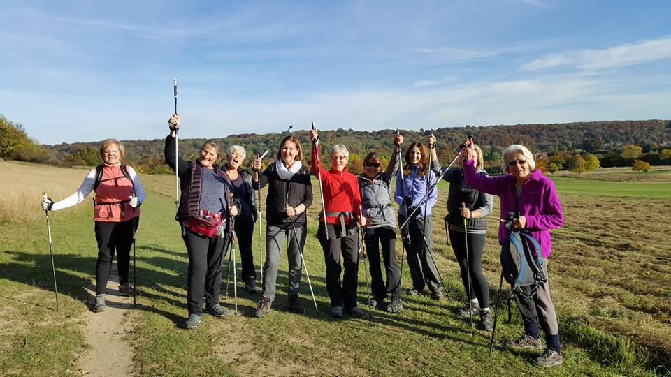 Nordic Walk group with Hilary Warrell